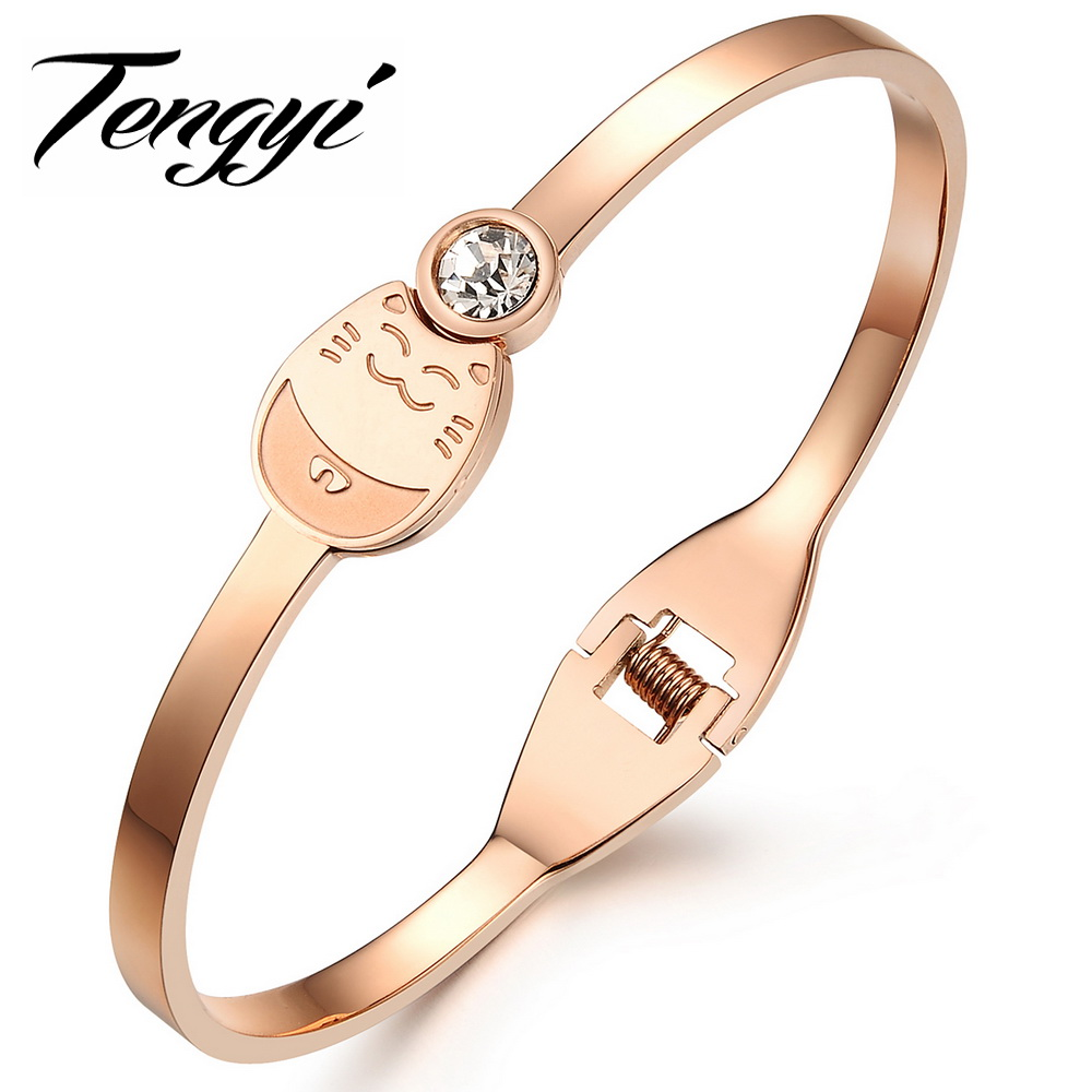 Classic Top Brand 18k Rose gold Plated Genuine Austrian Crystals Sample Sales Hello Kitty Bangle Bracelet Jewelry 706(China (Mainland))