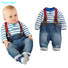 Humor Bear baby clothing set cool boys 3pcs suit t shirt pant straps Autumn and winter