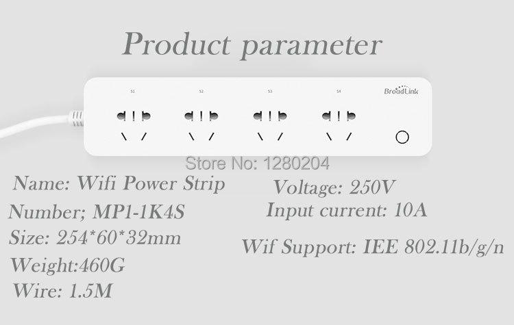 image for Broadlink MP1 WiFi Power Strip Socket,4 Outlet Extension Socket Plug W