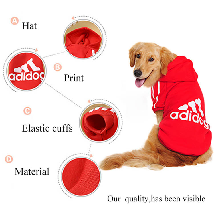 Big Dog Clothes Adidog Sport Pet Clothing For Large Dogs Hoodie Golden Retriever Coat Costume Size XS S M L XL XXL XXXL 4XL 1132