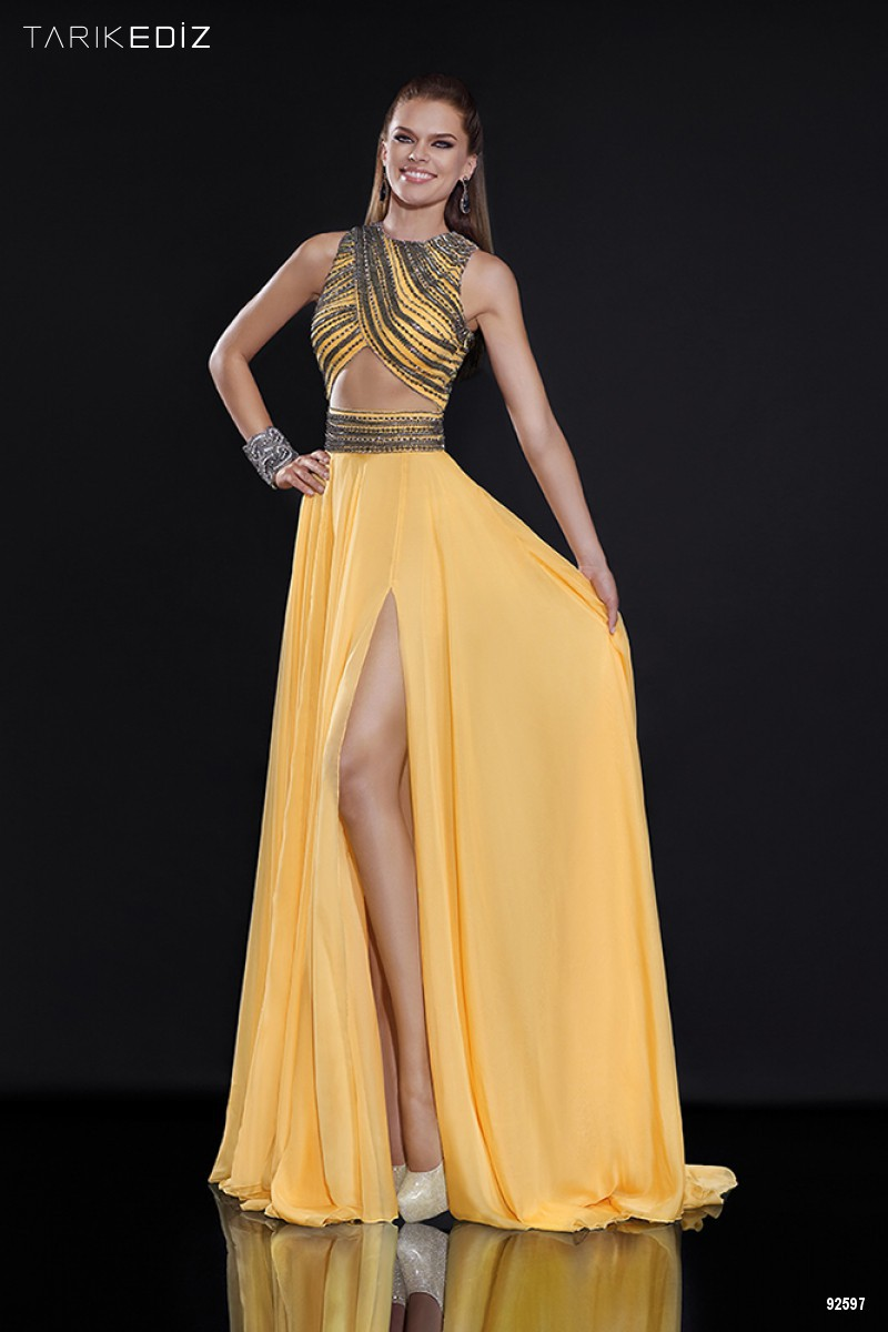RI 83 Tarik Ediz Yellow Two Piece Prom Dresses 2015 Sexy ...