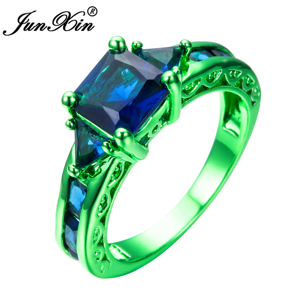 JUNXIN Male Female Blue Geometric Ring Green Gold Filled Jewelry Vintage Wedding Rings For Men And Women 2017 New Year Gifts(China (Mainland))