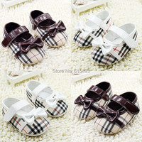 New striped plaid bows girls shoes 2015 Fashion patchwork tennis baby toddler shoes pre walkers children's shoes 0748