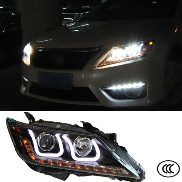Car Styling Headlights For Toyota Camry 7th 2011 2012 2013 Bifocal lens Guiding light Top quality Free Shipping to Russia(China (Mainland))