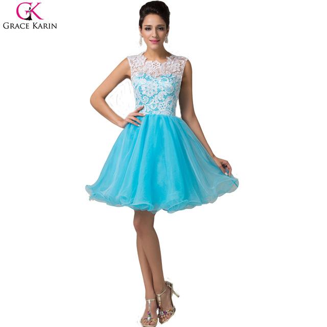 Короткие вечерние платья 2016 нью-грейс карин одеяние де вечер Courte пачки кружева ...