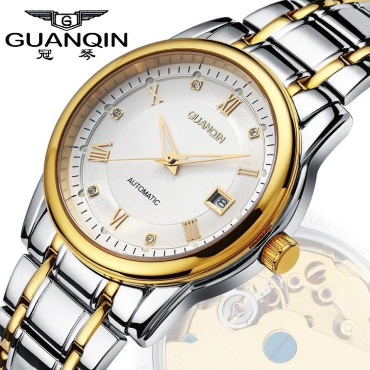 Men Watches 2015 GUANQIN Waterproof Stainless Steel Automatic Mechanical Watches Men Luxury Brand Casual Luminous Wristwatches