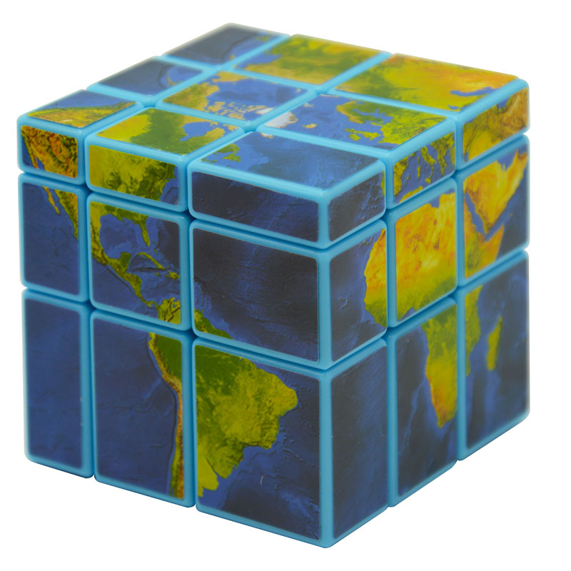 Fangge Miluo 5.7cm 3x3x3 Mirror Block(Blue/Black Body With Global Map or Watermelon Sticker)Cast Coated Magic Cube Professional(China (Mainland))
