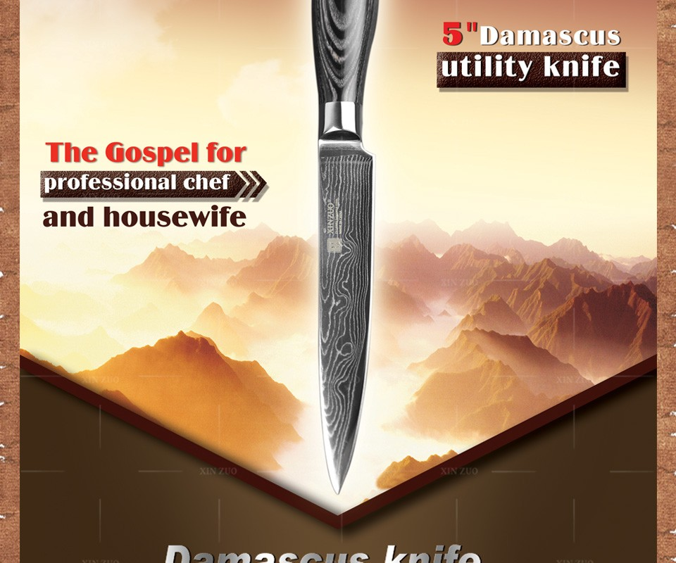 "Buy 5"" inch utility knife high quality Japanese VG10 73 layer Damascus steel kitchen knife paring knife wood handle FREE SHIPPING cheap"