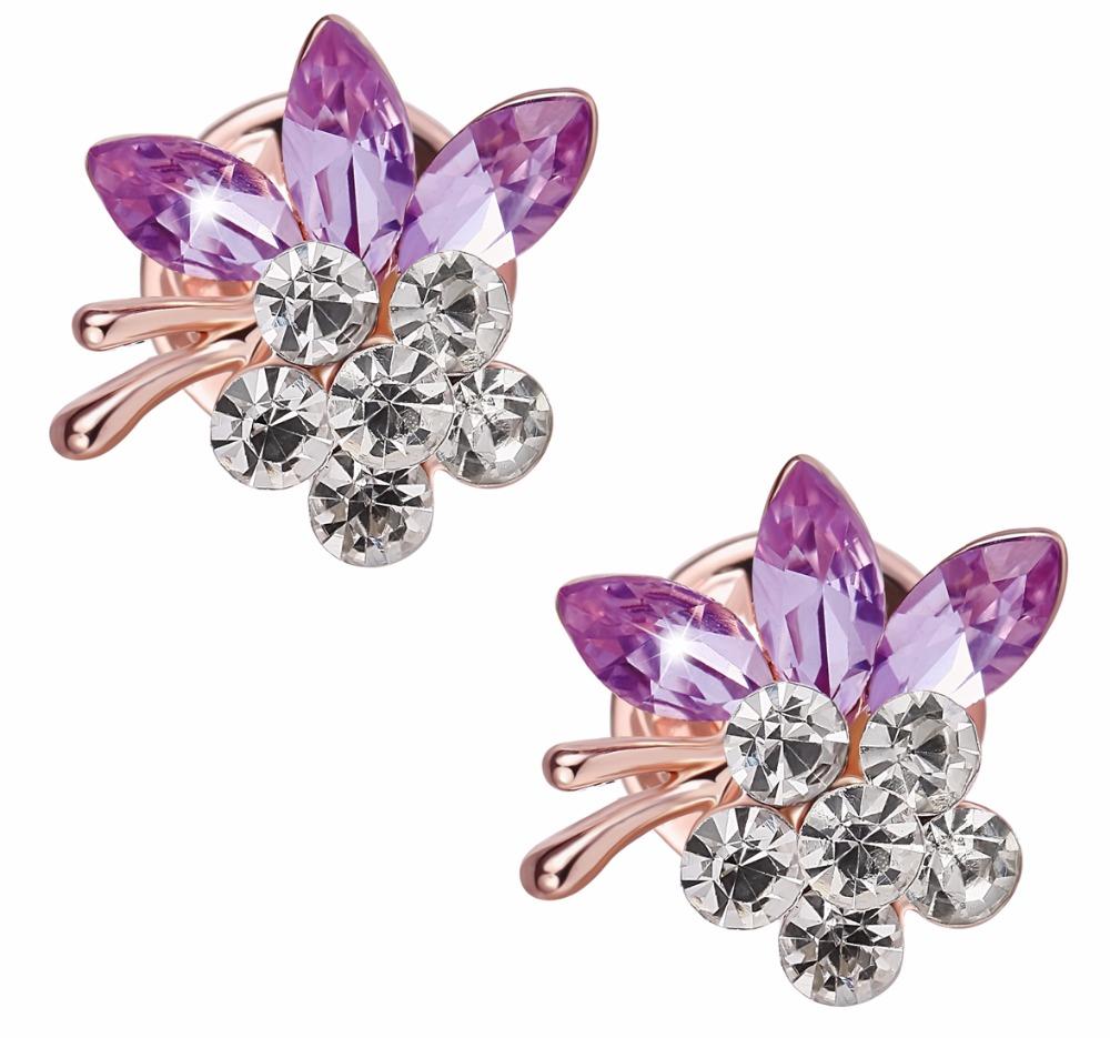 2pcs/lot Crystal Purple Flower Collar Clips Mini Blouse Skirt Shirt Thorn Pin Clutch Back Brooch Charm Jewelry Accessory CMZ0023(China (Mainland))