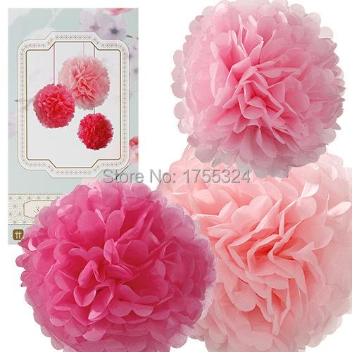 /lot Pink rose pom pom garland balls birthday party decorations ...
