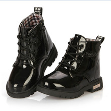 New 2015 Botas Infantil PU Leather Boys Girls Rubber Boots For Children Martin Boots Kids Snow Boots Sneakers Hot Item(China (Mainland))