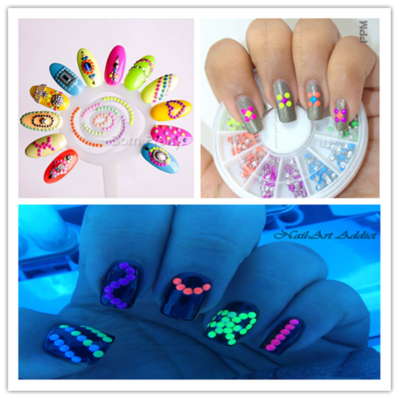 400pcs box neon round nail stud rhinestones acrylic uv gel for Acrylic nail decoration supplies