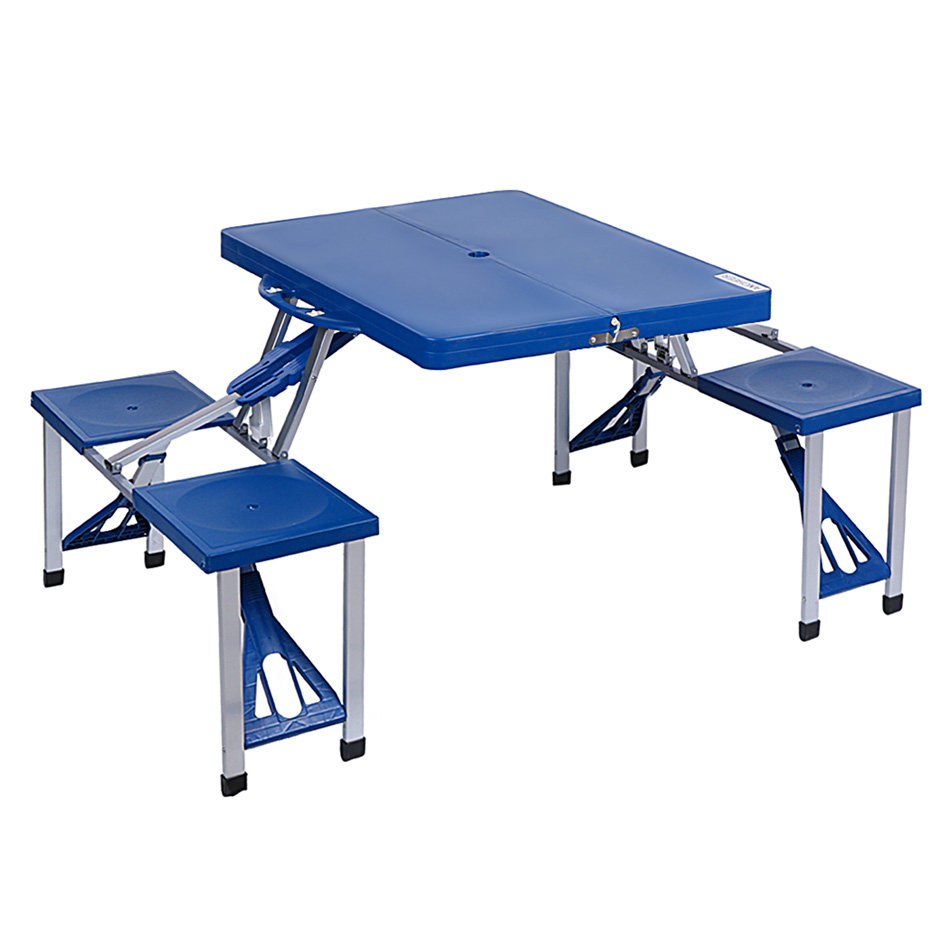 2016 High Quality ABS Folding Table Set Portable Outdoor Camp Suitcase Picnic Table 4 Seats Blue(China (Mainland))