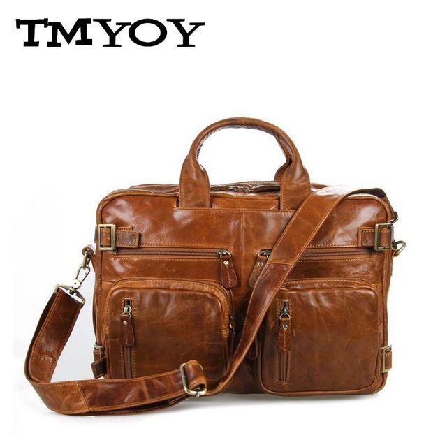 TMYOY Деловой стиль мужчины качество натуральная кожа сумка для мужчин многофункциональный ...