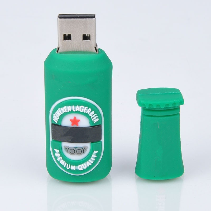 wholesale hot sale silicone lovely green beer usb flash drive pendrive 16GB 32GB 64GB Memory stick Pen Drive u disk(China (Mainland))