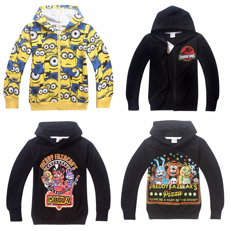 HOT 2016 Boys Outwaer Minions Clothes&Five Nights at Freddys Clothes Children's Sweatshirts For Boys Hoodies Kids Coat Costume(China (Mainland))