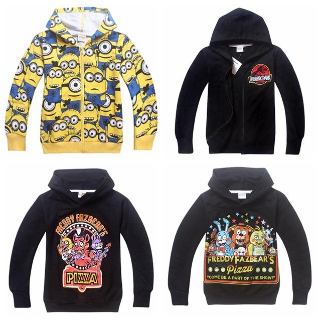 Новый 2015 мальчик с капюшоном миньоны одежда и пять ночей на Freddys детские кофты ...