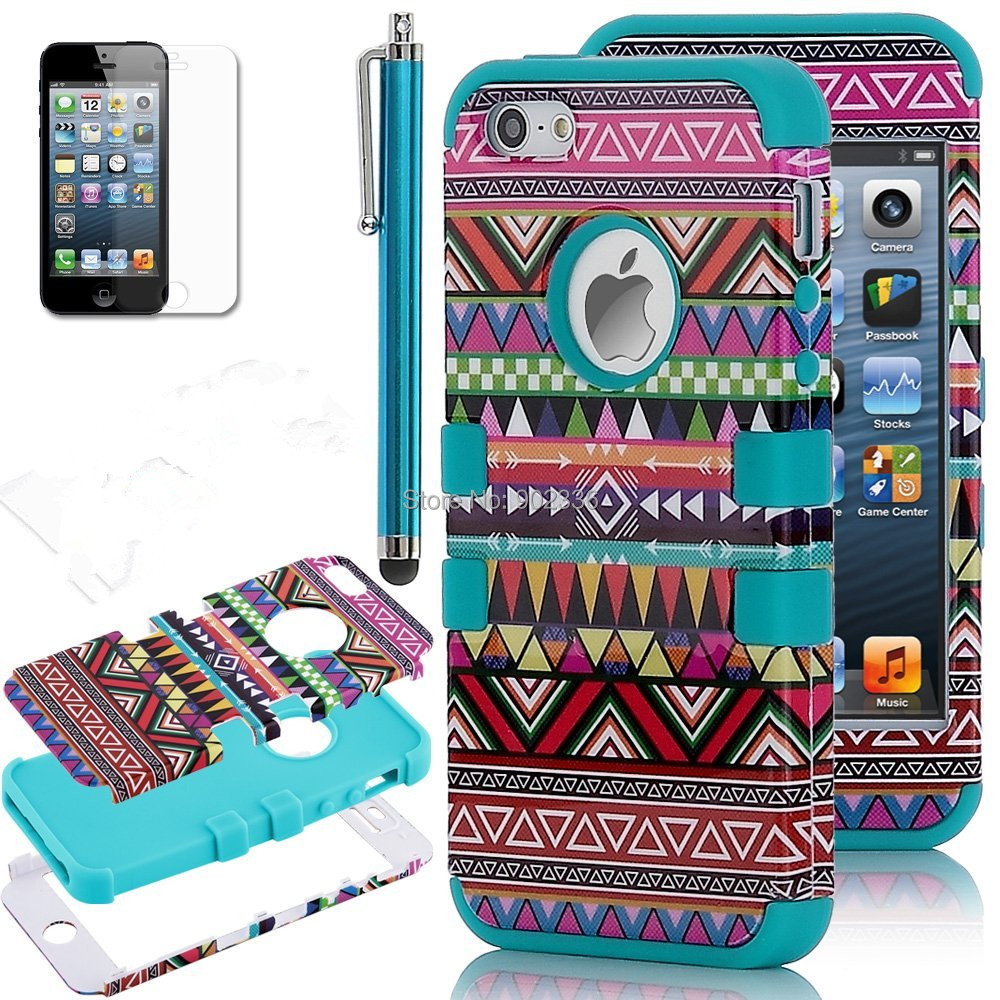 Soft Silicone and Hard PC Double Protector Cell Phone case for iphone 4 4s Tribal Aztec Designs Free shipping(China (Mainland))