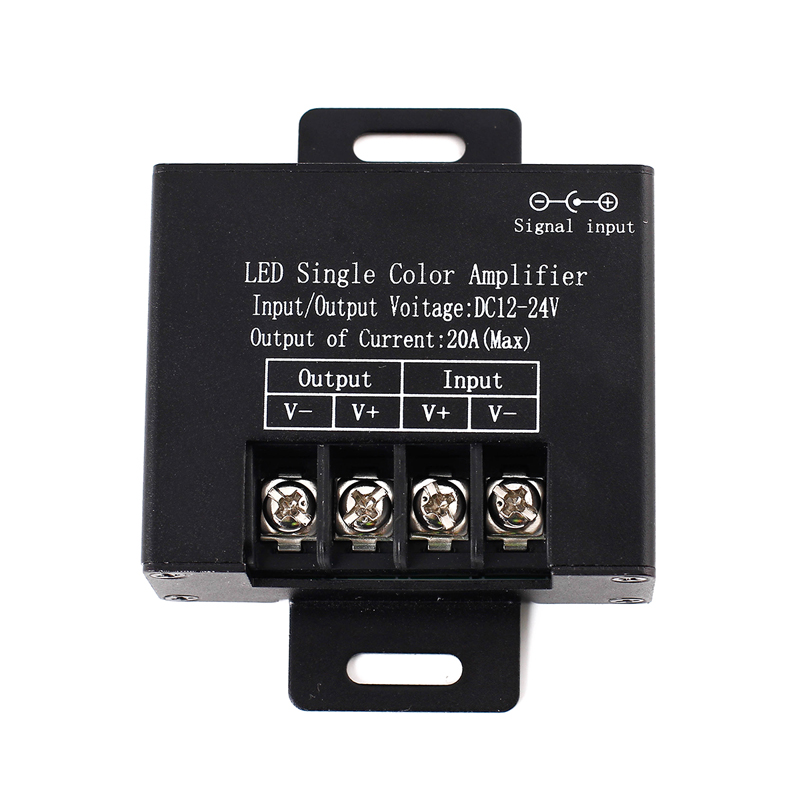 EPBOWPT DC 12-24V 20A Max Data Repeater Signal Amplifier Aluminum Case Black for SMD 3528 5050 Single Color LED Strip Lights(China (Mainland))