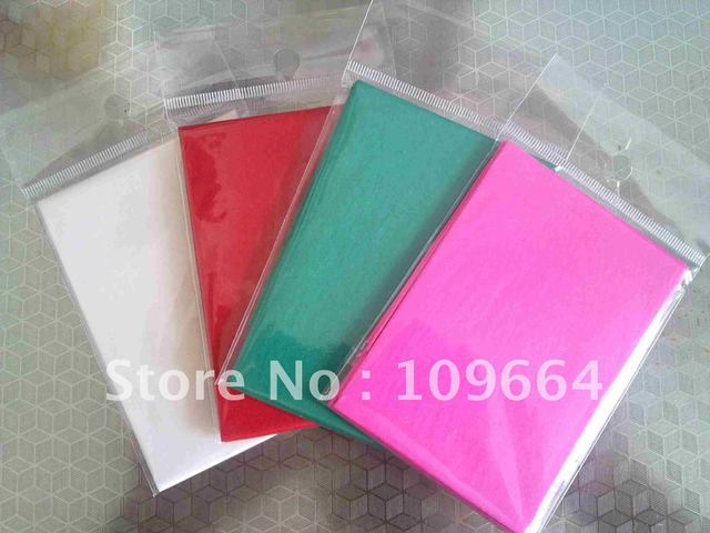 Folded colour tissue paper,used for hand bag,Base paper size:50x70cm,Folded size:7x10cm,1sheet/bag,1000bags/carton.