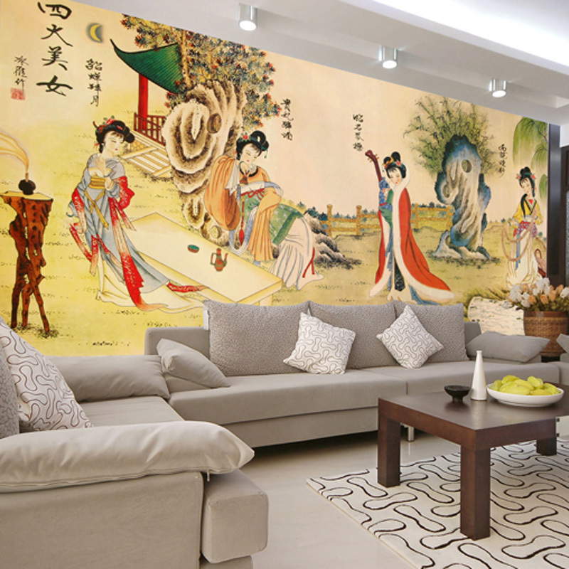Can customized large 3d mural wall paper tv sofa for Chinese mural wallpaper