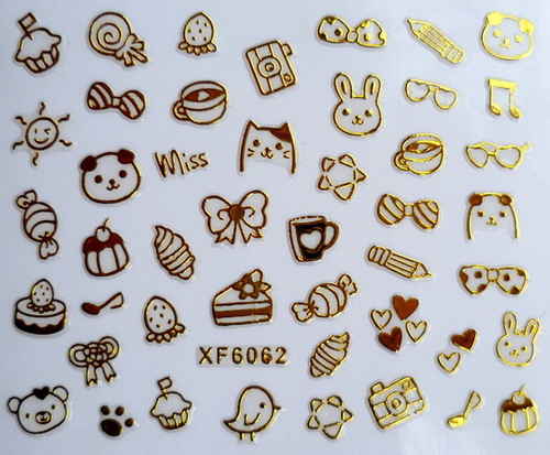 XF6062-2015 New Gold Silver Fashion style Water Transfer Stickers 3D Design DIY Nail Art Decorations Nail Sticker Nail Decal(China (Mainland))