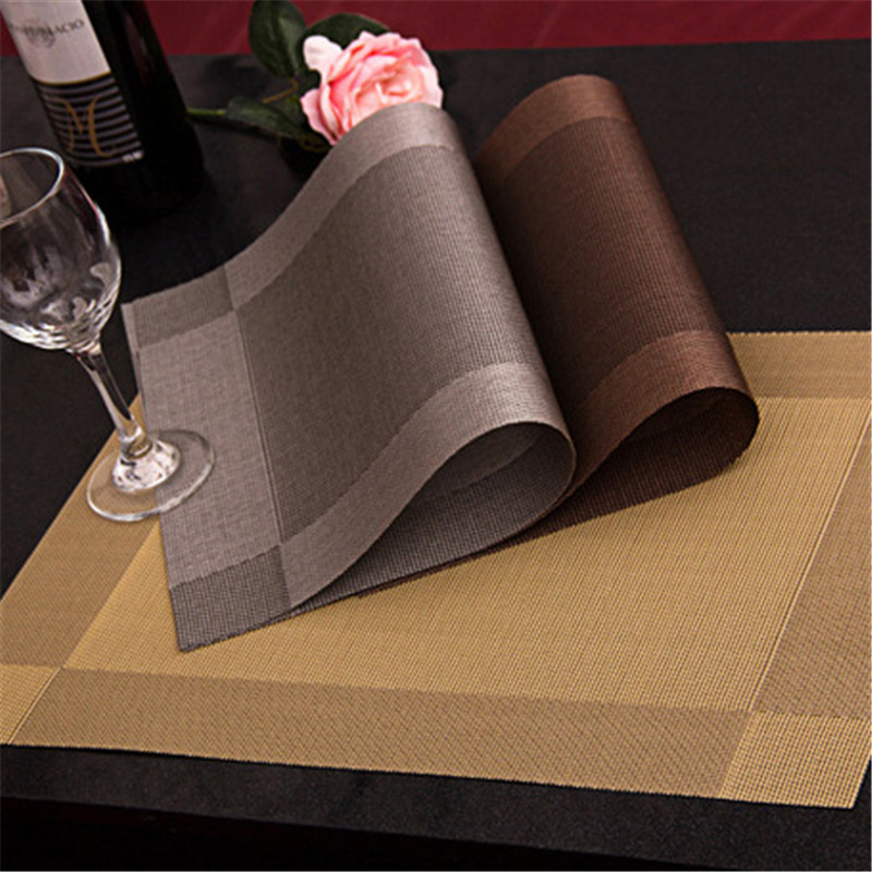 2016New Fashion 10 Pcs Dining table With wood Placemat Heat Resistant Mat Kitchen Accessories mat Disc pads(China (Mainland))