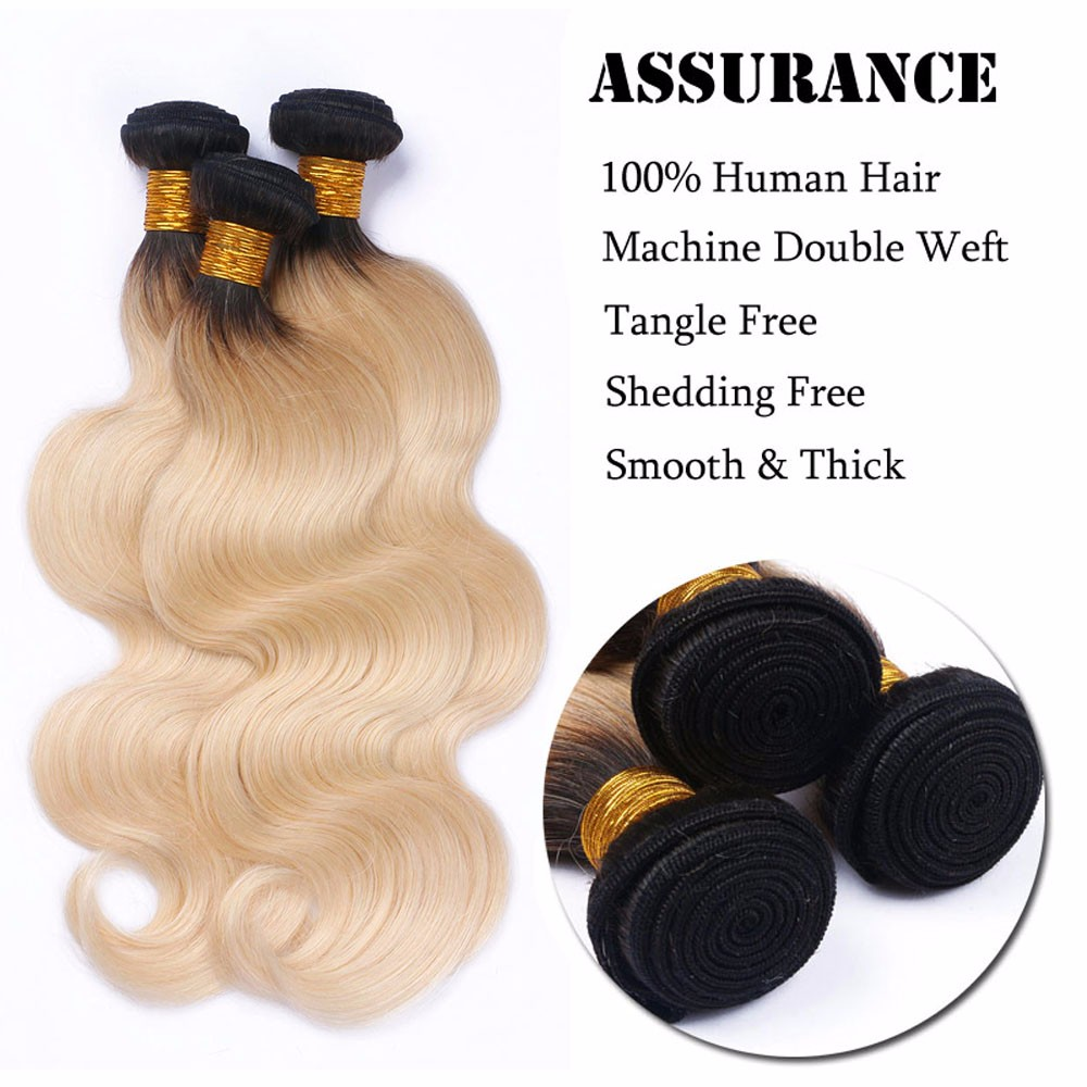 Fashion 1B/613 Platinum Blonde Weave 3 Bundles Body Wave Ombre Peruvian Hair Extensions Grade 8A Unprocessed Remy Hair Bundles