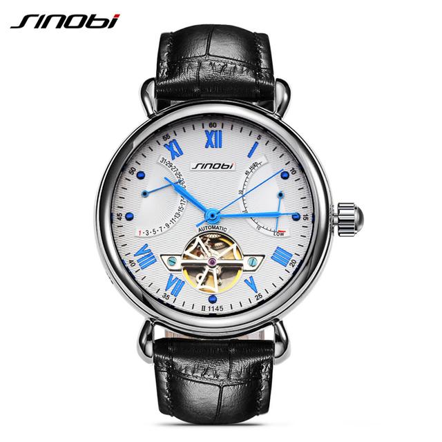 Роскошные бренд self-духовых механические часы автоматические сапфировое стекло из нержавеющей стали турбийон кожа наручные часы Relojes