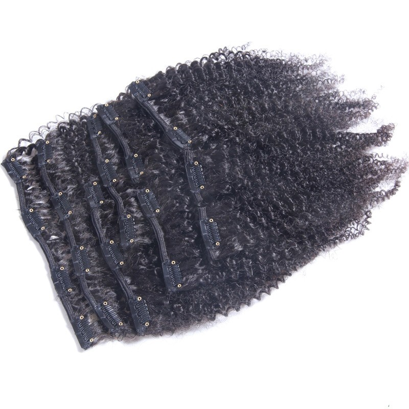 Afro Kinky Curly Clip In Hair Extensions 70G 120G Brazilian Virgin Hair Clipes Ins Extensions Full Head Clip In Human Hair #1B