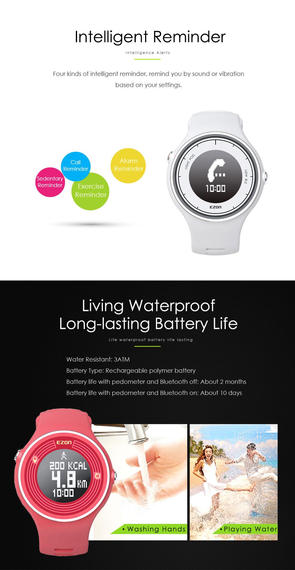 EZON многофункциональный smart casual спорта водонепроницаемый электронные часы для мужчин и женщин кроссовки WeChat подключение шагомер смотреть