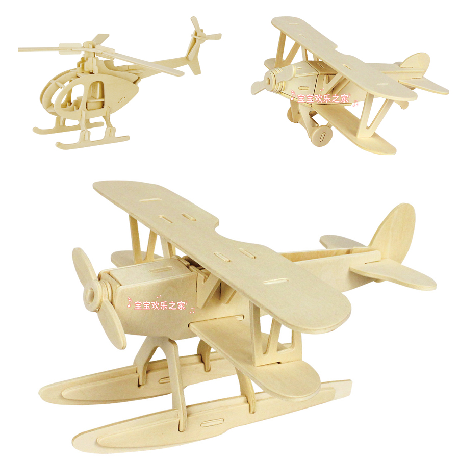 Children's educational toy game 3D wooden plane model puzzle toy small wood airplane puzzle free shipping(China (Mainland))