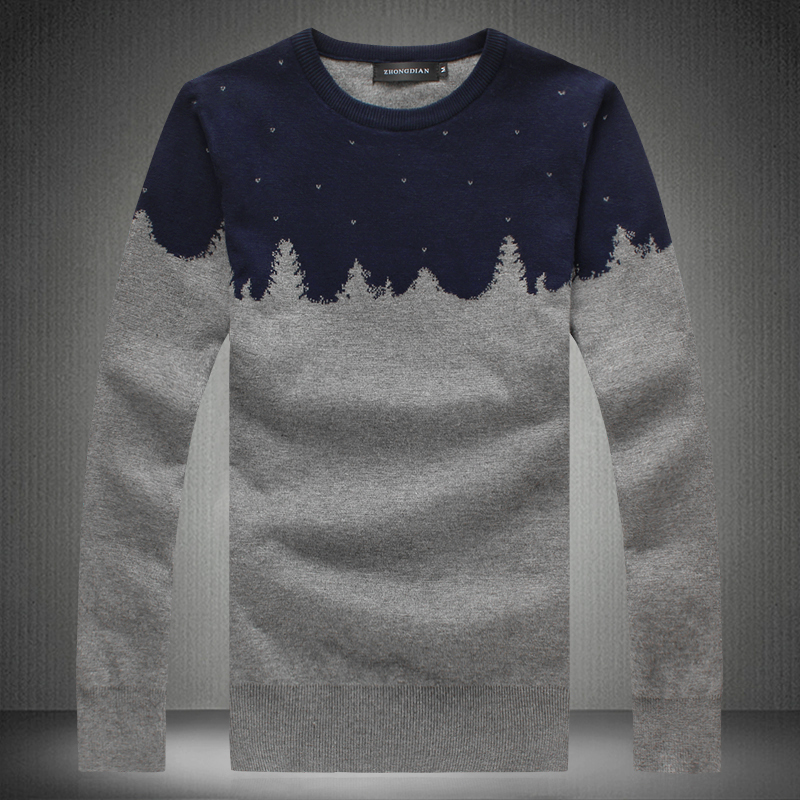 2015 winter o-neck sweater thickening pullover cotton 100% snowflake sweater male Christmas tree paragraph M-xxxl 4xl 5XL, 809(China (Mainland))