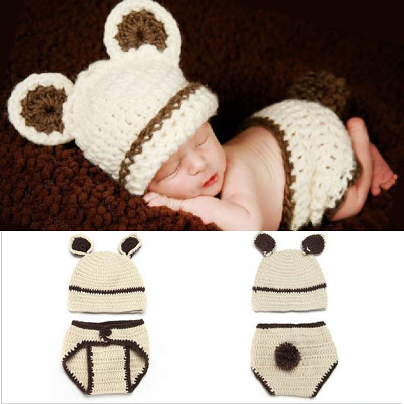 Crochet Bunny Rabbit Baby Hat with Diaper Set Newborn Photography Props Costume Outfit Handmade Animal Beanie Hat H047(China (Mainland))