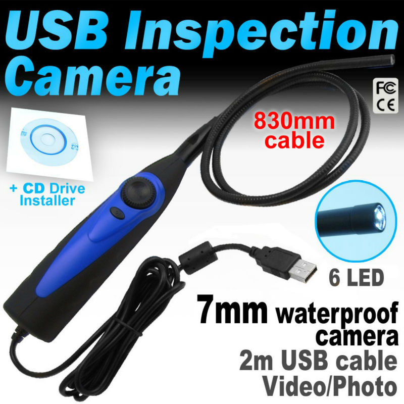 USB Pipe Inspection Camera Borescope 98AT Snake Tube Waterproof Interface Video Endoscope with 7mm Waterproof Camera