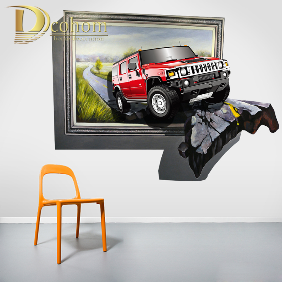 Buy broken window view car vinyl for Cars wall mural sticker
