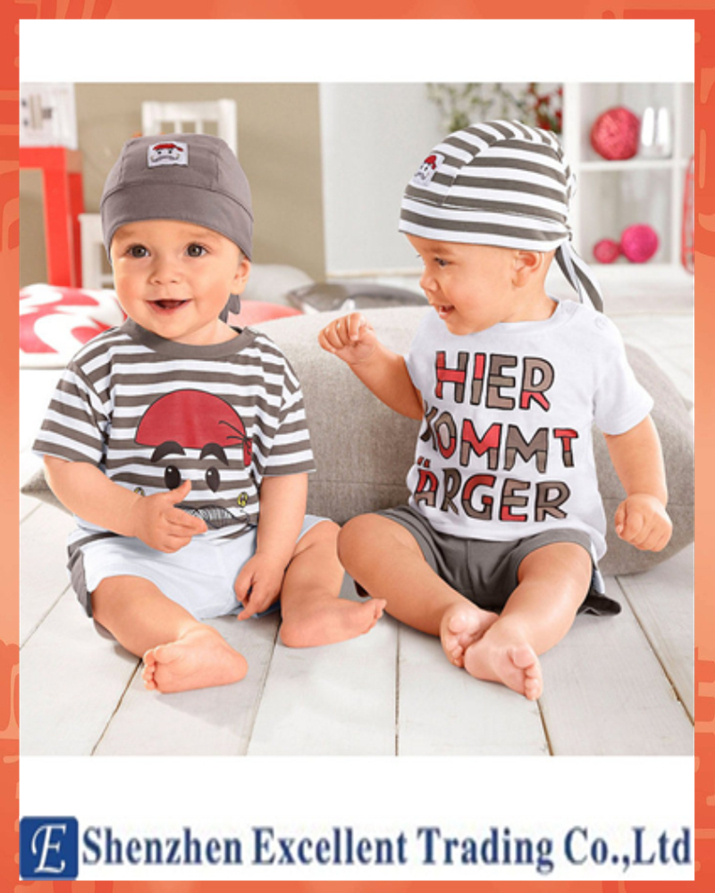 Fallow Style a 3 Piece Sets Twins Baby Suit for Summer Baby Boy Suit(China (Mainland))