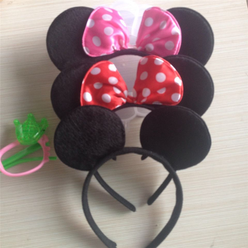 Cute Christmas Red Bows Minnie Ears Party Kids Headbands Boys Girl Adult Hair Bands Birthday Supplies Party Accessories(China (Mainland))