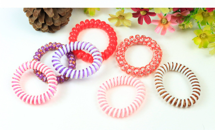 10pcs Crystal Telephone Line Gum Elastic Hair Bands For girl plastic hair ties rope candy colors Hairband Fashion Women headwear(China (Mainland))