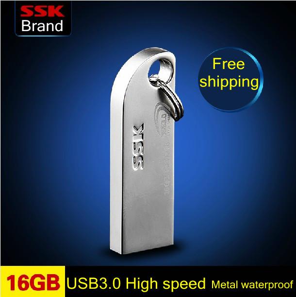 SSK Thumbs USB 3.0 large usb flash drives pen drive 100% 16GB High speed Metal waterproof usb flash drive Free shipping(China (Mainland))
