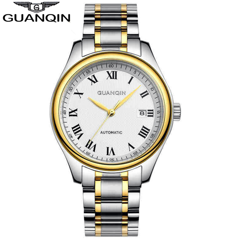 Men Watches 2015 GUANQIN Automatic Machinery Watch Men Top Quality Stainless Steel Waterproof Luxury Brand Wristwatches