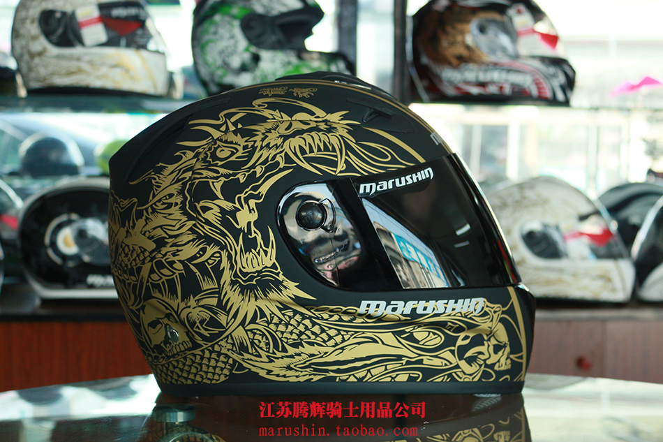 Free shipping, Malu Sen fiberglass motorcycle helmet full face helmet bright black dragon soul 888RS(China (Mainland))