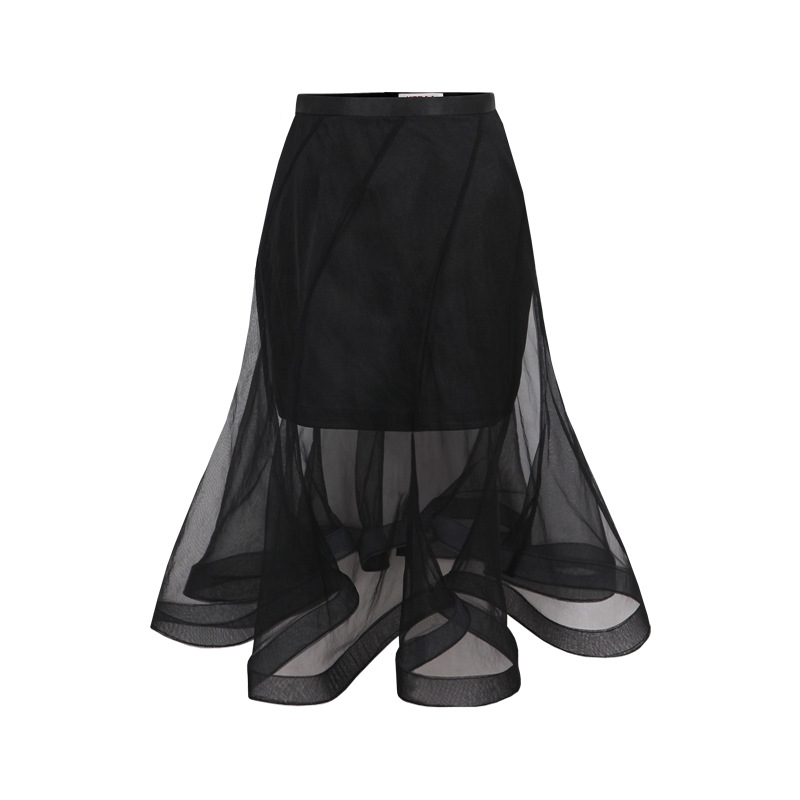 Europe all-match fashion see-through skirt color wrap hip skirt perspective