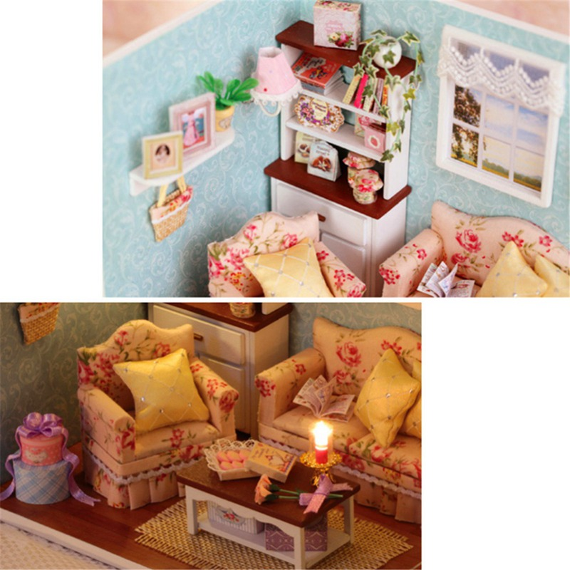 Wholesale Handcraft Diy Wooden Miniature Dollhouse Furniture Kit Living Room Model With Cover