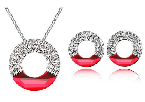 Red Rhinestone Austrian Crystal Jewelry Sets Round Necklace Pendants With Stud Earrings Gold Plated Fashion Jewelry 5473(China (Mainland))