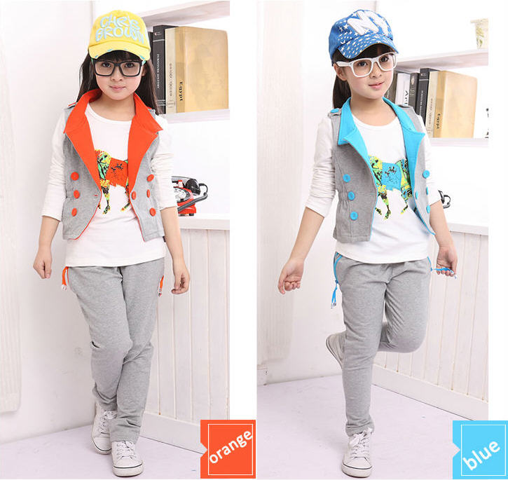 3 piece 5-13Y big girl kids Clothes new brand long-sleeved T shirt &amp; vest &amp; harem pants child Sports Suit girls clothing sets<br><br>Aliexpress