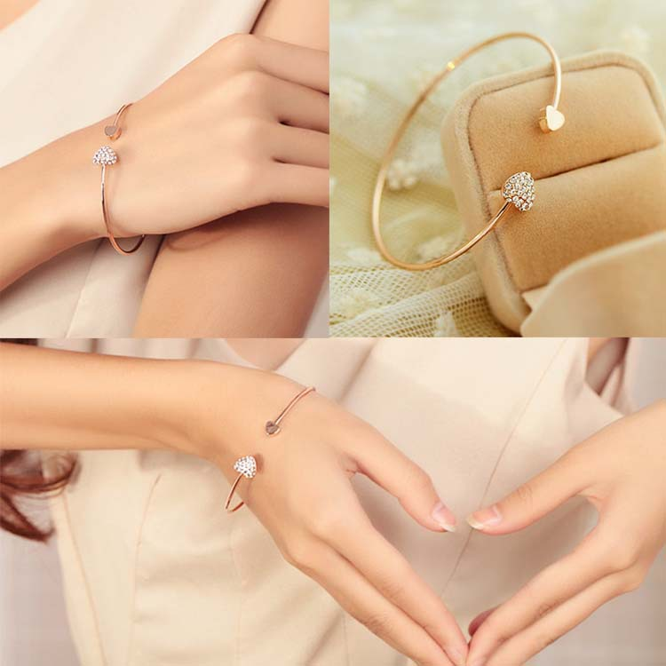 Charming Jewelery Double Crystal Decorated Peach Hearts Wire Woman Bangle Gold Plated BL-0074(China (Mainland))