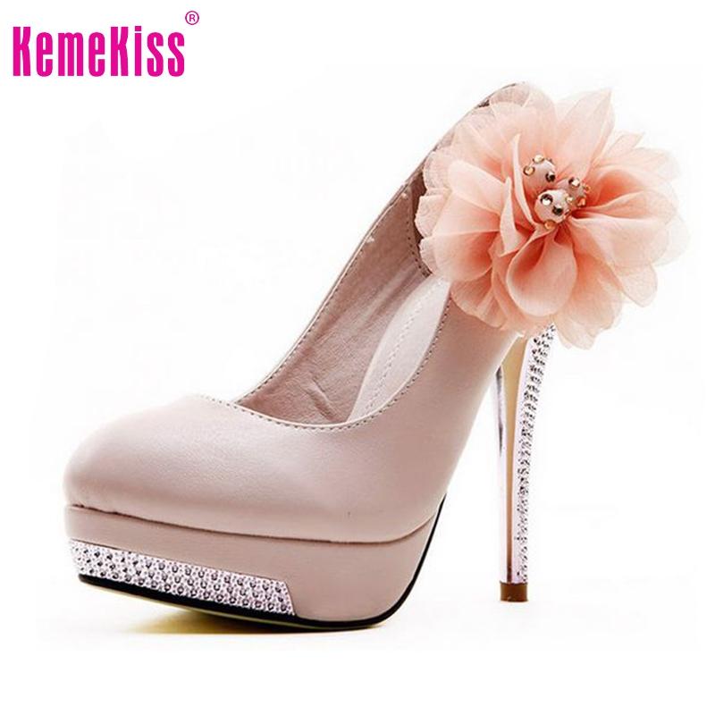size 35-43 women high heel shoes wedding bridal flower platform heeled lady pumps fashion diamond heels EUR D5614 - KemeKiss store