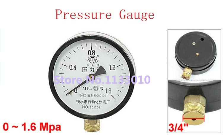 Mpa pressure intensity mm thread connector round dial