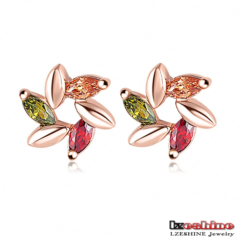 LZESHINE Brand High Quality Leaf Flower Stud Earrings 18K Rose Gold Plate Austrian Crystal SWA Elements Girls Earring ER0141-A(China (Mainland))